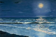 """20*30 original oil seascape painting of night sea under the moonlight. Stretched back stapled canvas. """"Moonlight sonata"""" is an original oil painting on stretched back stapled 20*30 inches canvas (can be hung as is). I noticed that the sea has an incredible inner vital force, which one can feel instantly when even just looking at the sea water. I have been dreaming about capturing this phenomenon with oil paints. I liked the idea of combined dark sea and sky and the moonlight. Please see..."""