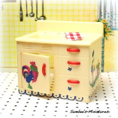 """Renwal Vintage Dollhouse Furniture 1954 RARE Stenciled Kitchen Sink w Door 3 4"""""""
