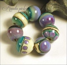 HANDMADE glass LAMPWORK Beads, Purple rose (z99), copper green and ivory rounds, Artisan, SRA (7)