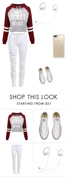 """""""Me sarcastic?"""" by baby-bre ❤ liked on Polyvore featuring Converse, Beats by Dr. Dre and Speck"""
