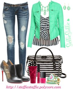 """Mint & Stripes"" by steffiestaffie on Polyvore"