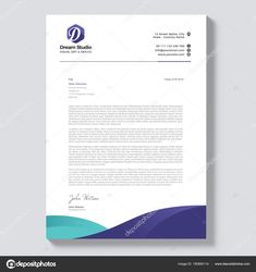Download - Professional Letterhead Template Vector — Stock Illustration Letterhead Design Samples, Letterhead Design Inspiration, Letterhead Examples, Professional Letterhead Template, Company Letterhead Template, Free Letterhead Templates, Letterhead Business, Invoice Template, Stationery Templates