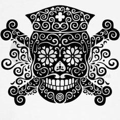 sugar skull nurse - would be cute for my nursing tattoo Love Tattoos, New Tattoos, Body Art Tattoos, Nurse Tattoos, Ship Tattoos, Tatoos, Rn Tattoo, Ems, Sugar Skull Tattoos