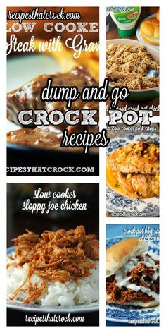 Our Favorite Dump and Go Crock Pot Recipes- Ready to cook in 5 minutes or less!(Minutes Steak In Crock Pot) Crock Pot Food, Crock Pot Freezer, Crock Pot Slow Cooker, Freezer Cooking, Freezer Meals, Slow Cooking, Dump Dinners, Crock Pot Dump Meals, Crockpot Dump Recipes