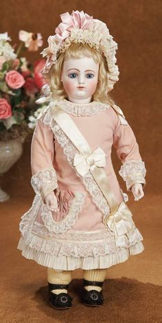 """Beautiful Early Period French Bisque Bebe by Gaultier with Bisque Hands 16"""" (41 cm.)"""