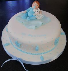 tortas de bautizo para varon - Buscar con Google Torta Baby Shower, Cupcakes Decorados, Baby Shawer, Sister Birthday, Fondant, Icing, Deserts, Baptisms, Food