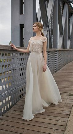 Limor Rosen 2015 Collection wedding dress soft and romantic with two pieces chif. Limor Rosen 2015 Collection wedding dress soft and romantic with two pieces Dresses Elegant, Pretty Dresses, Beautiful Dresses, Formal Dresses, 2015 Wedding Dresses, Bridal Dresses, Wedding Gowns, Bohemian Prom Dresses, Bridal Gown