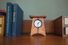 Handmade East of Appalachia cherry and walnut, clean and timeless desk or shelf clock. Pictured on desk top. Craftsman Desks, American Craftsman, Wood Clocks, Desk Clock, Arts And Crafts Movement, Walnut Wood, American Made, Wood Art, Woodworking