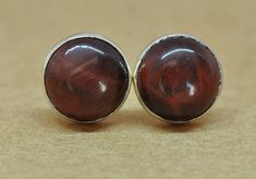 Red Tiger Eye and Sterling Silver Earrings 8mm