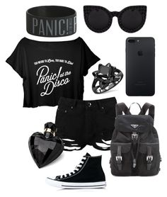 """Panic at the disco concert outfit BLACK"" by gleh5 ❤ liked on Polyvore featuring Boohoo, Converse, Prada, Lipsy and Delalle"