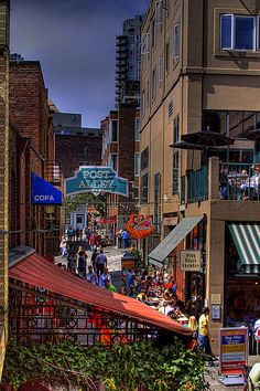 #? Post Alley - Seattle, Washington #Travel Washington USA multicityworldtravel.com We cover the world over 220 countries, 26 languages and 120 currencies Hotel and Flight deals.guarantee the best price