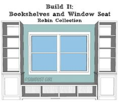 Built-in Window Seat and Bookcases - free plans from SawdustGirl.com: