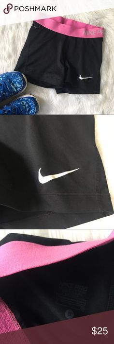 Black and Pink Nike Pro spandex Good condition, very comfortable, size small Nike Shorts