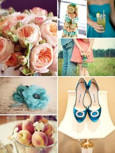 peaches and teal. @Sara Eriksson Eriksson Simmons   oh this should make you feel happy inside!!!