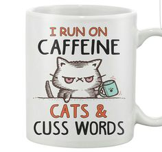 Caffeine Cats & Cuss Words Mug