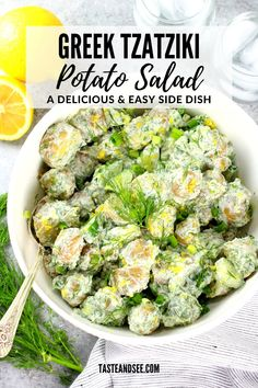This Greek Potato Salad is full of flavor & so good for you! Baby Dutch yellow potatoes and creamy Greek yogurt sauce with English cucumbers, dill, & garlic. #TasteAndSee