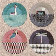 Tom Frost Pondlife Side Plates - set of 4
