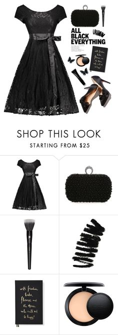 """Black style"" by yexyka ❤ liked on Polyvore featuring Lancôme, Bobbi Brown Cosmetics, Kate Spade, MAC Cosmetics, Giorgio Armani, GetTheLook, StreetStyle, lace, allblack and Dressunder50"