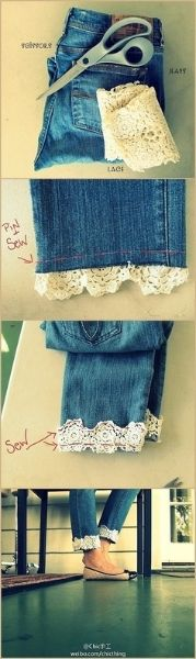Creative Life Hacks Every Girl Should Know DIY Jeans with lace trim Sewing Hacks, Sewing Crafts, Sewing Projects, Diy Projects, Diy Crafts, Sewing Diy, Sewing Tutorials, Lace Jeans, Diy Jeans