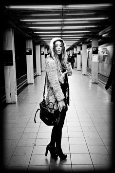 nyc subway - black and white winter street style look