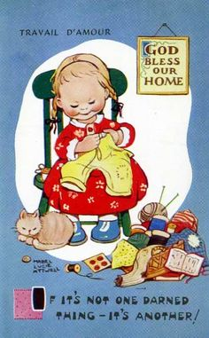 Mabel lucie Attwell postcard if it's not one darned thing it's another art cat girl