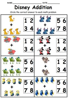 Crafts and Coloring Page: kindergarten fun math pages addition 2nd Grade Worksheets, Kindergarten Math Worksheets, Kindergarten Fun, Writing Worksheets, Kindergarten Worksheets, Worksheets For Kids, Math Activities, Coloring Worksheets, Matching Worksheets