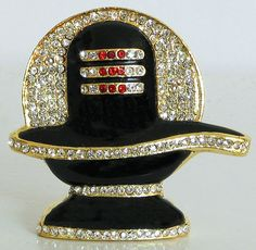 Gold Plated and Stone Studded Shiva Linga (Metal))