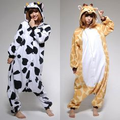 Adult Kigurumi Animal Cosplay Pajamas Costume Halloween Giraffe And A Cow! even our favorite animals are best friends! @Sarah Henson