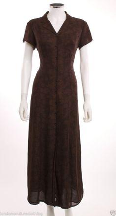 LAUREN RALPH LAUREN SHORT SLEEVE COLLAR  BROWN FLORAL BUTTON DOWN LONG DRESS SZ8 #LaurenRalphLauren #ShirtDress
