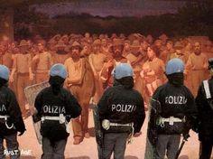 Italy 2012. Police against Il Quarto Stato.