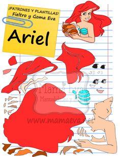 Descarga gratis nuestras plantillas para goma eva y fieltro de tus personajes favoritos: Ariel, Sebastián, Flounder... #gomaevamoldes