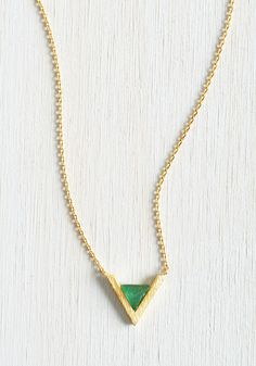 ModCloth green and gold V necklace