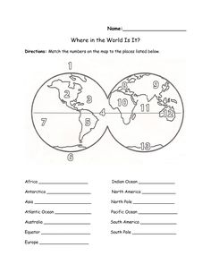 Blank Continents And Oceans Worksheets | Continents and Oceans ...