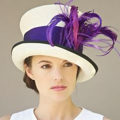 Mad Hatter Cloche. Purple & White Hat. Formal Hat. Kentucky Derby Hat, Ascot Hat, Special Occasion Hat, Downton Abbey Hat