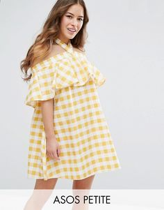 Buy it now. ASOS PETITE Halter Neck Sundress in Gingham - Yellow. Petite dress by ASOS PETITE, Pure cotton, Gingham print, Halterneck, Stretch off-shoulder trim, Frill overlay, Loose fit � falls loosely over the body, Machine wash, 100% Cotton, Our model wears a UK 8/EU 36/US 4 and is 163cm/5'4 tall, Mini dress length between: 85-87cm. ABOUT ASOS PETITE 5�3�/1.60m and under? The London-based design team behind ASOS PETITE take all your fashion faves and cut them down to size. Say goodby...