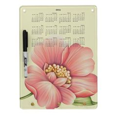 2013 Calendar Dry Erase Board  Add a touch of beauty to your home or office while staying organized and on track! This beautiful dry erase board has a soft cream background and a large digitally painted flower bloom in soft salmon pinks and green and a 2013 calendar. Comes with pen and key holder hooks!
