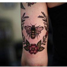 """Wonderland Tattoo (@wonderlandpdx) on Instagram: """"#bee and #botanical #wreath by Savannah Trevino @savvytattoos #wonderlandpdx"""""""