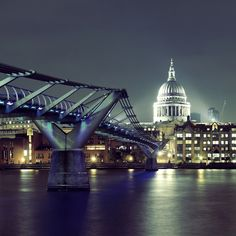 Photo about Millennium Bridge and St Pauls Cathedral at night in London. Image of night, historical, historic - 39678202 Image Photography, Editorial Photography, Millennium Bridge, Cathedral, Most Beautiful, Saints, Places To Visit, London, Night