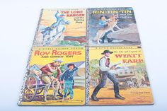 Western Motif Little Golden Book Vintage Picture book Set Roy Rogers and Cowboy Toby Lone Ranger Wyatt Earp Rin-tin-tin  161108 by ThePinkRoom