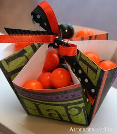 paper crafts for halloween: tied up candy basket, origami tutorial - crafts ideas - crafts for kids