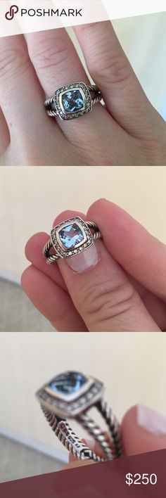 David Yurman Mini Albion Blue Topaz Ring This a pre-owned small ring with blue topaz and diamonds. Ring size is 7.5. David Yurman Jewelry Rings