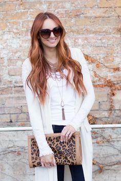 leopard & a cardigan boho style   www.LittleJStyle.com