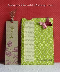 Carte marque-page, une carte et un petit cadeau, j'adore l'idée !
