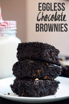 Easy homemade eggless chocolate brownies that even a novice can make. Its a cakey, fudgy and perfect dessert for vegetarian brownie lovers. Eggless Brownie Recipe, Eggless Desserts, Eggless Recipes, Eggless Baking, Brownie Recipes, Chocolate Recipes, Baking Recipes, Dessert Recipes, Baking Chocolate