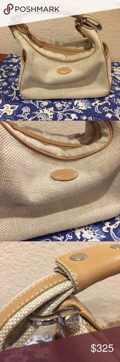 TOD'S leather canvas small hobo bag TOD'S leather canvas small hobo bag excellent preloved condition small yet classic perfect for summer! Authentic Tod's Bags
