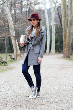 outfit look casual borsalino cappotto pinko grigio converse pelle borsa zara fashion blogger irene colzi irene closet