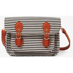 FOREVER 21 Striped Buckled Crossbody ($25) ❤ liked on Polyvore