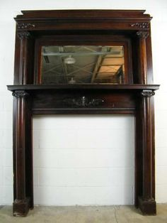 beautiful salvage oak fireplace mantel with mirror and columns - Antique Fireplace Mantels