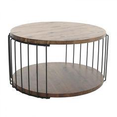 Ξύλινο/Μεταλλικό Τραπέζι Σαλονιού 80x80x45