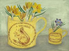 'Squirrel cup and crocus' available from @newashgate #newashgategallery #squirrel #crocus #yellow #sgiew_yellow #sgiew #canaryware #painting #commission